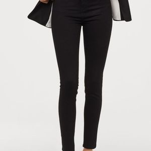 H&M High Waist Skinny Black Denim Jeans Size 14